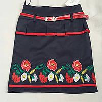 Детская юбка в школу вышитая синего цвета, 36-42 р-ры, 245/215 (цена за 1 шт. + 30 гр.)