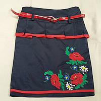 Синяя юбка с вышивкой, 36-42 р-ры, 245/215 (цена за 1 шт. + 30 гр.)