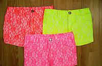 Подростковые цветные кружевные шорты для девочек. В остатке 122,128,134 - розовый