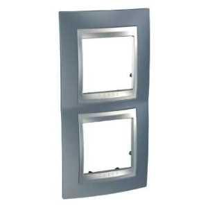 Рамка 2 пост. вертикальная Unica Top металлик/алюминий MGU66.004V.097