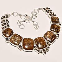 Колье, ожерелье из натуральных камней - БРОНЗИТ, РАУХТОПАЗ (ДЫМЧАТЫЙ КВАРЦ)