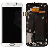Дисплейный модуль (+ сенсор) для Samsung Galaxy S6 EDGE G925F, с передней панелью, белый, оригинал
