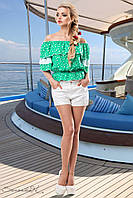 Летняя блуза из штапеля с открытыми плечами 42-48 размеры, фото 1