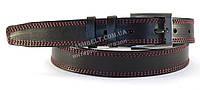 Кожаный черный мужской ремень прошитый красными нитками классика 3,5 см.