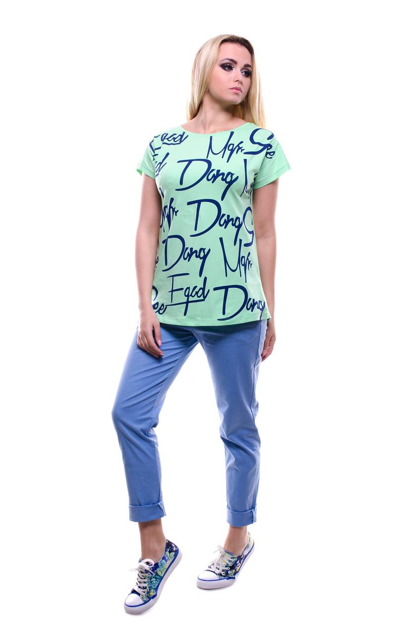 Женская молодежная футболка с красивым принтом