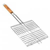 Решетка для барбекю металлическая: 55х27х24 см, деревянная ручка