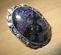 """Серебряный перстень  с натуральным чароитом """"Фиолет"""" , размер 17,9 от студии LadyStyle.Biz"""