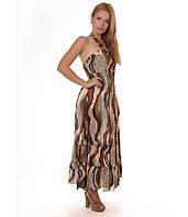 Платье летнее коричневое в пол абстрактной расцветки