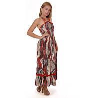 Платье летнее красное в пол абстрактной расцветки