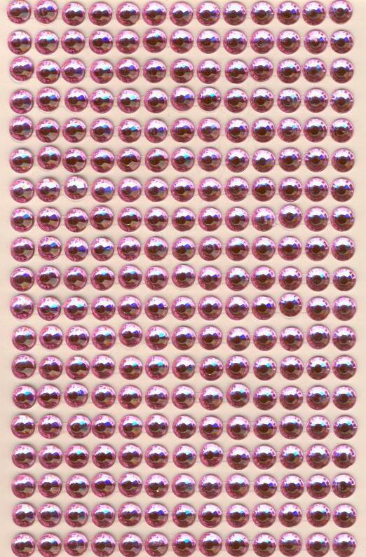 Стразы круглые розовые  (10 шт)