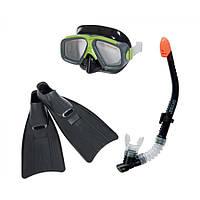 Набор для плавания (маска+трубка+ласты) Intex 55959, детский набор для подводного плавания от 8 лет