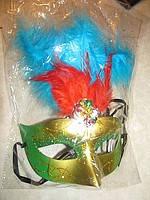 Маска карнавальная с перьями и камушками