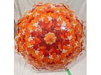 Женский зонт трость прозрачный Листопад, фото 1