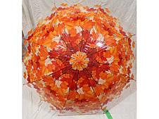 Женский зонт трость прозрачный Листопад