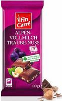 Молочный шоколад Fin Carre  «Alpen Vollmilch Trauben Nuss»  с кусочками лесного ореха и изюмом 100 г