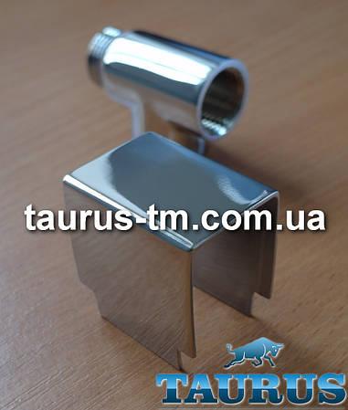 Квадратная накладка из н/ж стали на тройник для комбинированных полотенцесушителей (ТЭН + вода)
