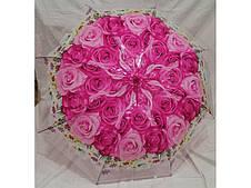 Женский зонт трость прозрачный Букет роз