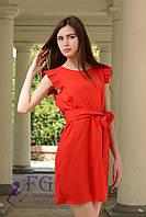 Красное платье на лето из легкой ткани креп-шифон