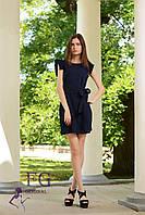 Летнее короткое платье темно-синего цвета из легкой ткани