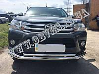Защитная дуга переднего бампера Toyota Hilux (двойной ус), фото 1