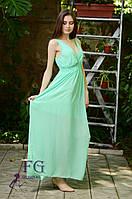 Длинный женский сарафан из шифона мятного цвета