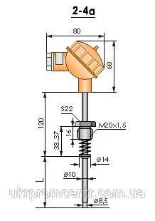 Термопреобразователь ТСМ2-4а ТСП2-4а ТСТ2-4а ТХА2-4а ТХК2-4а