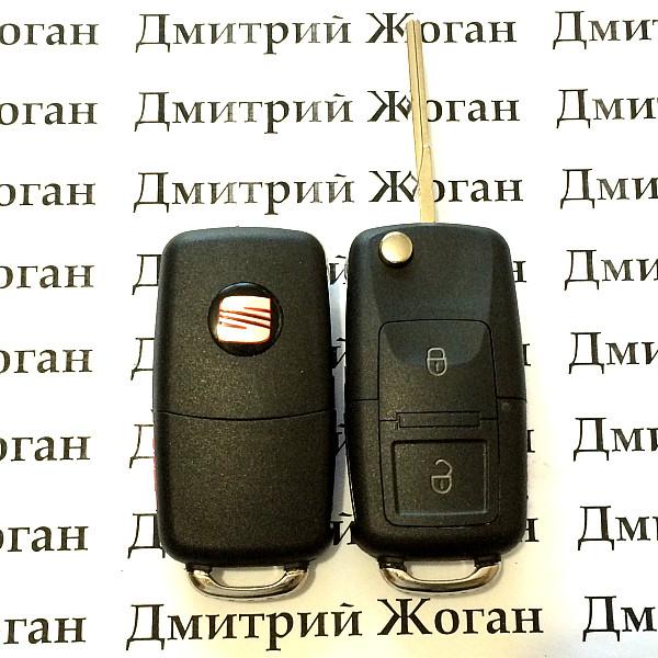 Выкидной ключ Seat (сеат) 2 - кнопки, с микросхемой 1JO 959 753 A - 433 Mhz, с ID48 MEGAMOS чипом