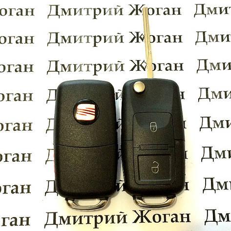 Выкидной ключ Seat (сеат) 2 - кнопки, с микросхемой 1JO 959 753 A - 433 Mhz, с ID48 MEGAMOS чипом, фото 2