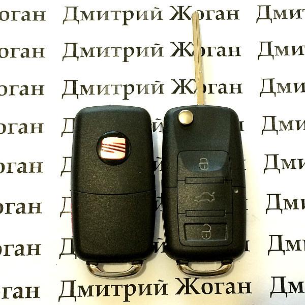 Выкидной ключ Seat (сеат) 3 - кнопки, с микросхемой 1JO 959 753 AH - 433 Mhz, с ID48 MEGAMOS чипом