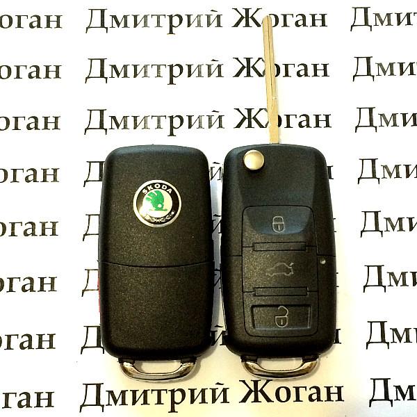 Выкидной автоключ для SKODA (шкода) корпус 3 - кнопки с микросхемой 1JO 959 753 G - 433 Mhz, с ID48 чипом
