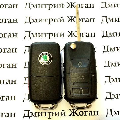 Выкидной автоключ для SKODA (шкода) корпус 3 - кнопки с микросхемой 1JO 959 753 G - 433 Mhz, с ID48 чипом, фото 2