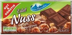 Молочный шоколад Edel Nuss с цельным лесным орехом 200 г