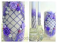 """Свадебные свечи """" Семейный очаг"""" в сирневом цвете"""