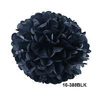 Чёрный шар помпон из бумаги тишью. Диаметр 35 см.