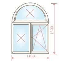 Арочное окно/1100х1300/4-16-4 - Magazin Okon