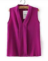 Стильная женская легкая шифоновая блуза с коротким рукавом фиолетового цвета