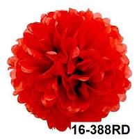 Красный шар помпон из бумаги тишью. Диаметр 35 см.