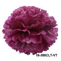 Бордово-фиолетовый шар помпон из бумаги тишью. Диаметр 35 см.