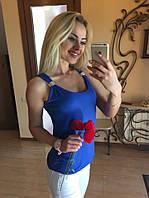 Блузка женская без рукава с хомутом Синяя