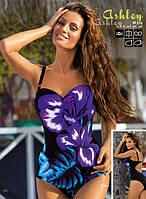 Элегантный слитный купальник с экзотическими цветами M 379 ASHLEY