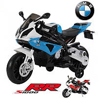 Детский мотоцикл BMW MOTOR S 1000 RR: 12V, 90W, 6 км/ч черно-синий-купить оптом детские мотоциклы, фото 1