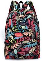 Рюкзак городской женский с принтом листьев.