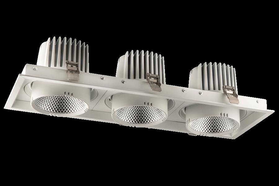 Врезные светильники SQUARE ELS166Rx3/105W  15°/24°/40°/, 3000K/4000K/5000K