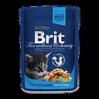 Brit Premium Chicken Chunks for Kitten (Брит Премиум кусочки курицы для котят), 1х100 гр
