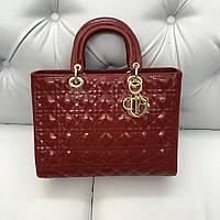 Женская сумка Dior Lady лаковая кожа бордовая