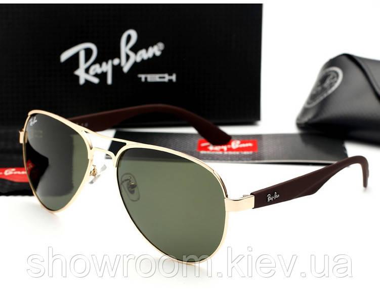 Мужские солнцезащитные очки в стиле Ray Ban 3523 gold