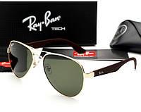 Мужские солнцезащитные очки в стиле Ray Ban 3523 gold, фото 1