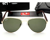Женские солнцезащитные очки в стиле Ray Ban 3523 gold, фото 1