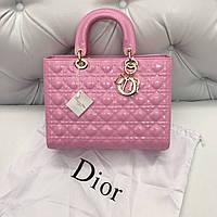 Женская сумка Dior Lady лаковая кожа розовая