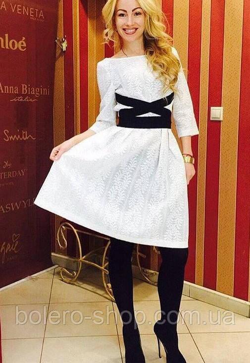 Женское платье белое с черным поясом с рукавом Италия